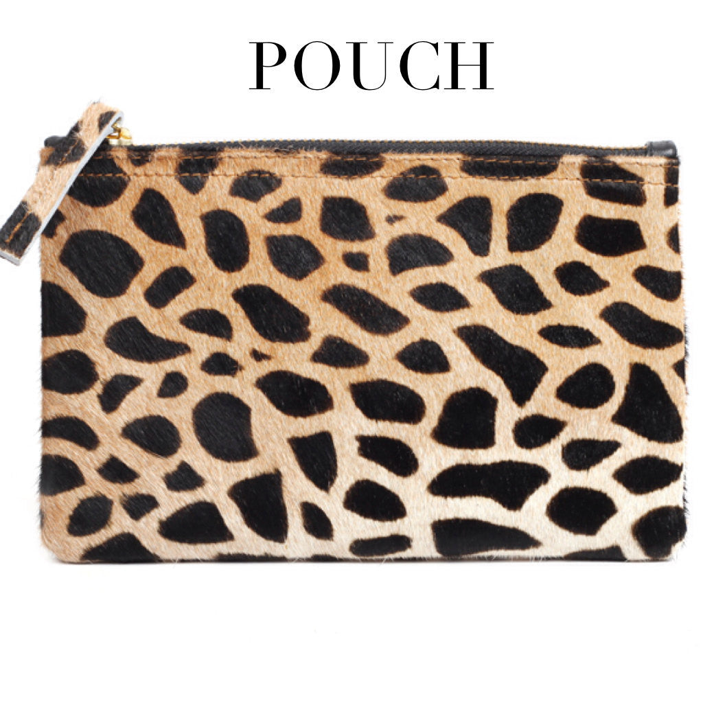 Wallet Clutch-Leopard Print Genuine Calf Hair Leather