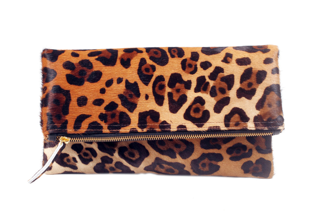 Jaguar Print Calf Hair clutch; women's clutch purse; women's handbags; women's purse; calf hair clutch; calf hair leather purse; calf hair foldover bag; calf hair clutch bag; jaguar print calf hair handbag; pony hair handbag; pouches and clutches; foldover clutch leather; foldover clutch with strap; foldover clutch calf hair