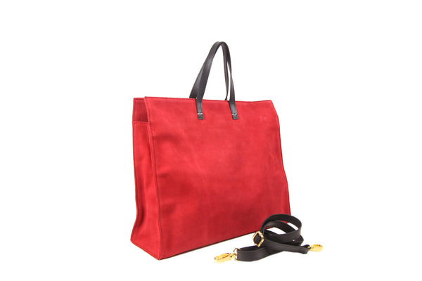 Red Simple Monogram Tote, Leather Tote, Tote, Monogram Leather Tote, Simple Seude Leather Tote, Red Tote bag