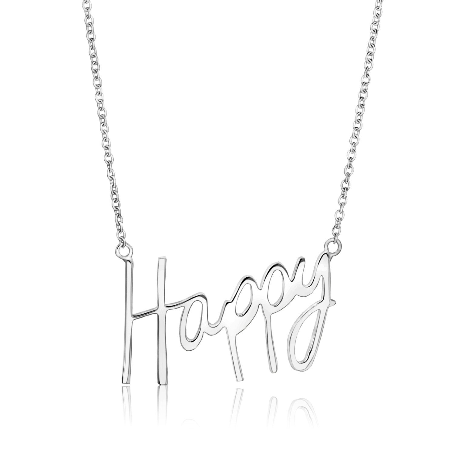 Happy Word Necklace in sterling silver