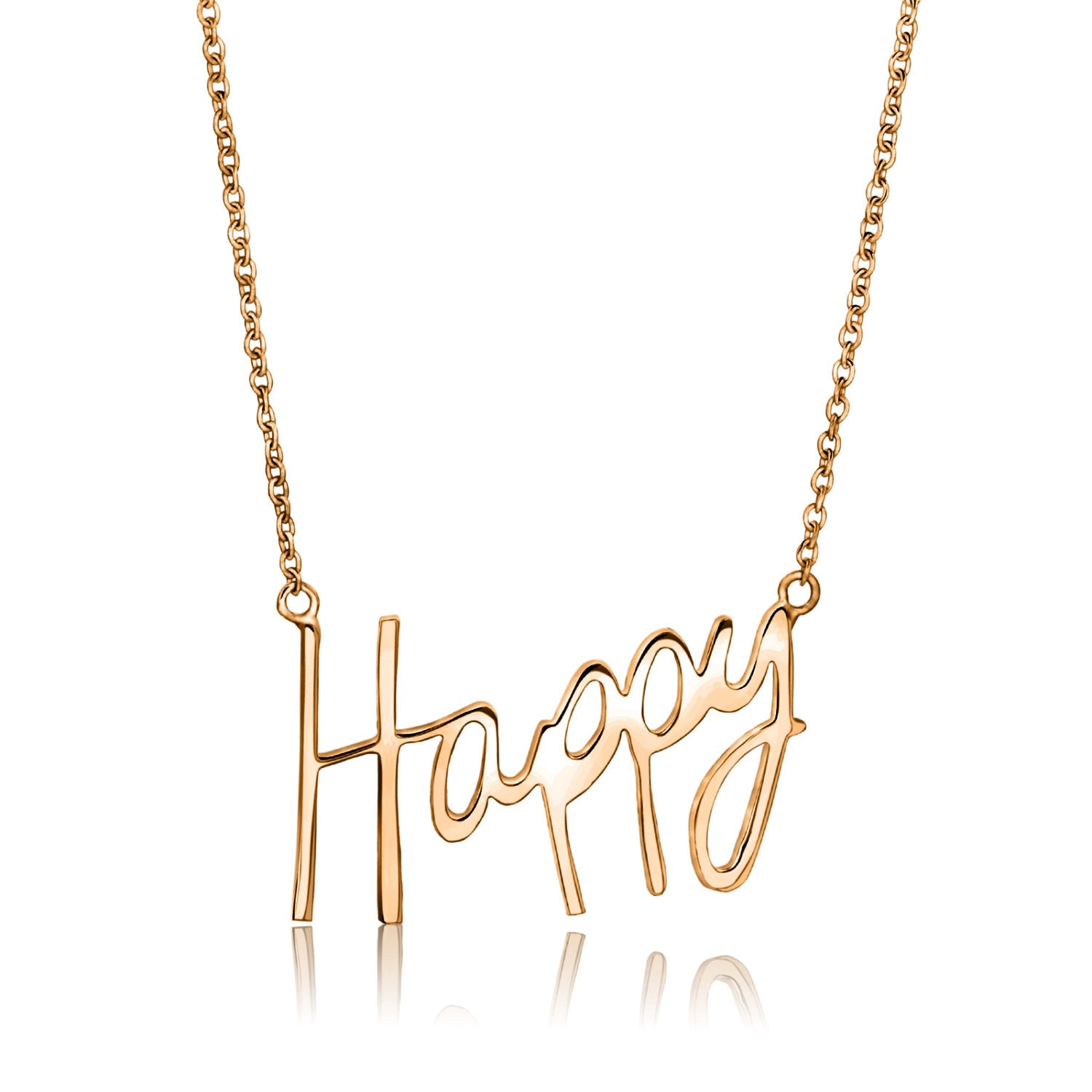 Rose gold happy word necklace for her