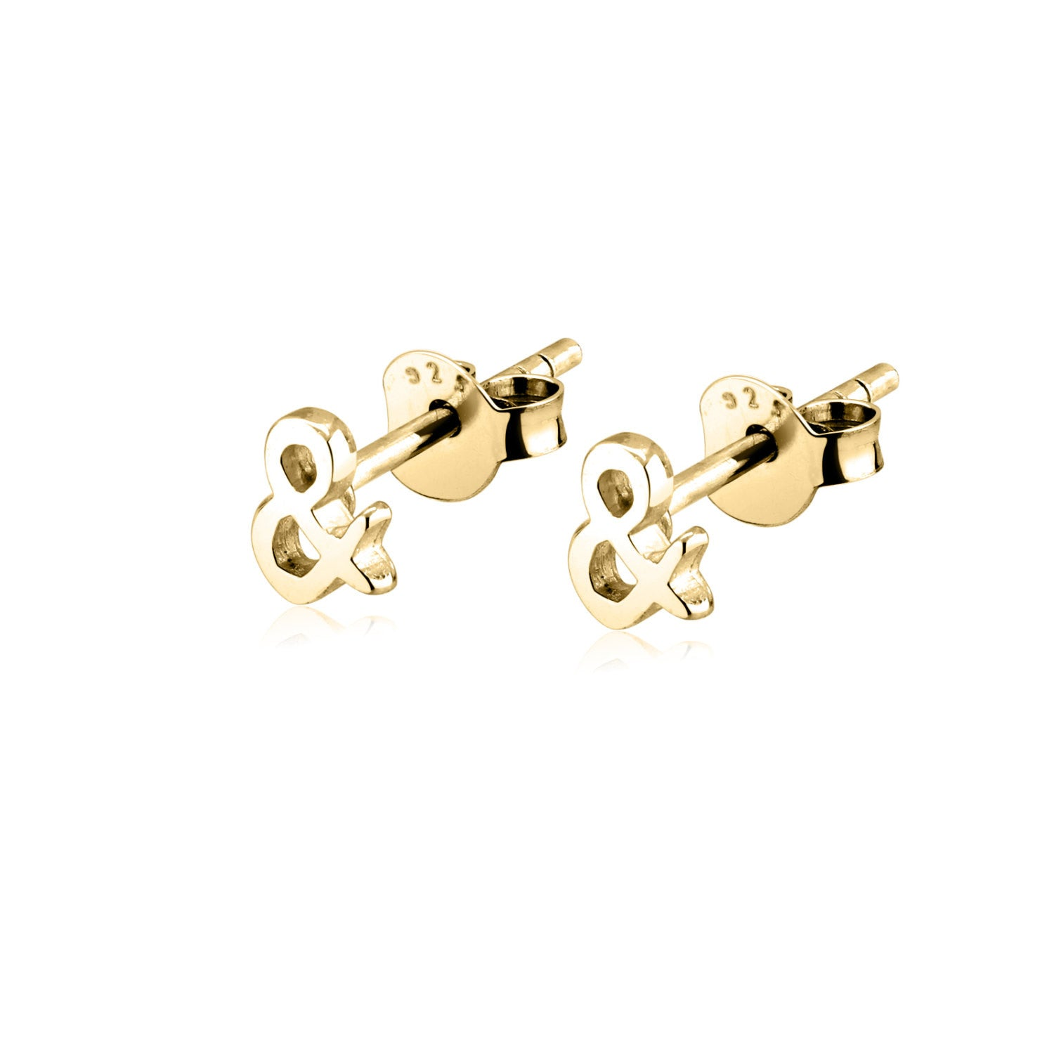 Ampersand Stud 14k Gold Earrings Women Girls
