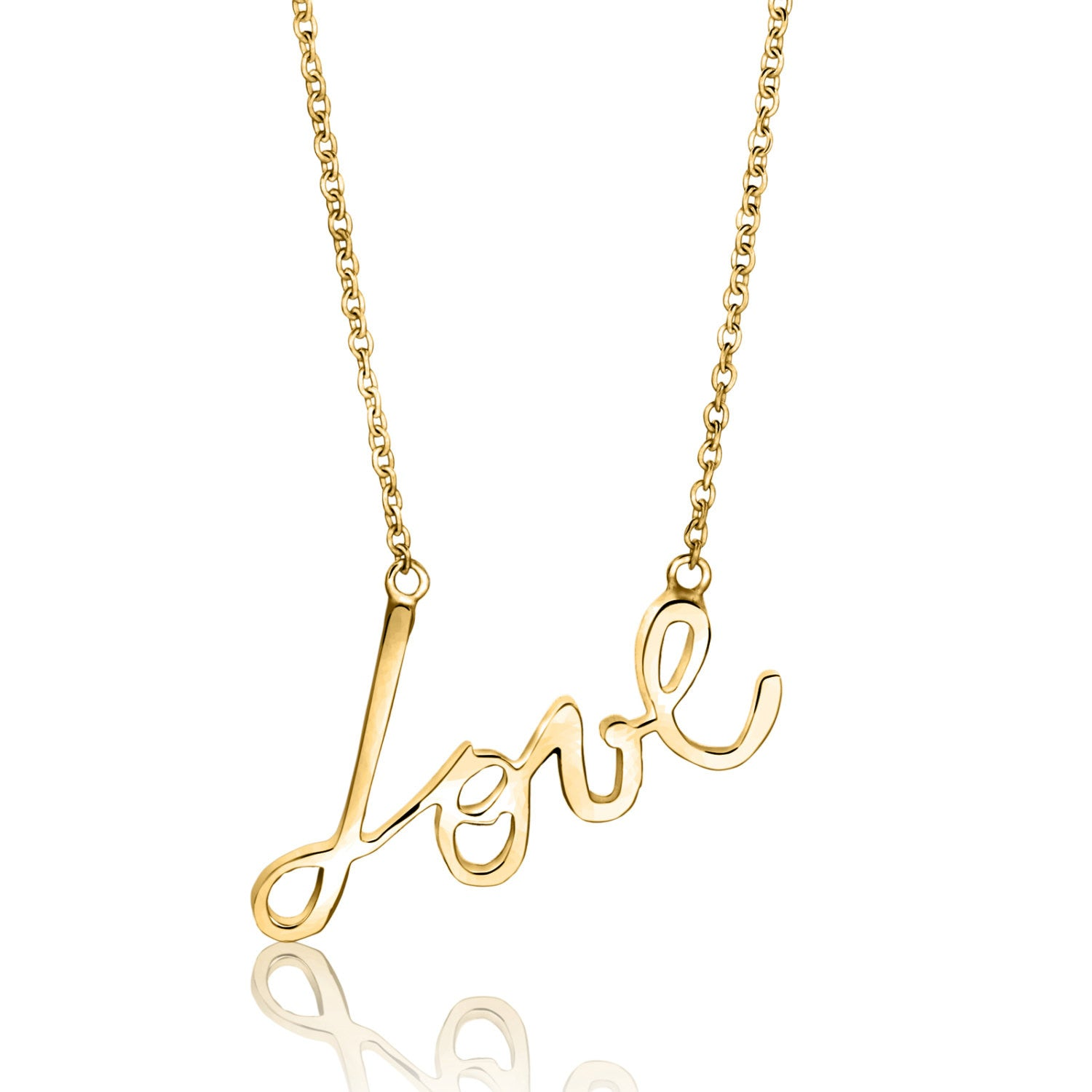 Lavin script love necklace, necklace, jewelry, valentines day, mothers day gift idea, wedding gift idea, bridesmaid gift