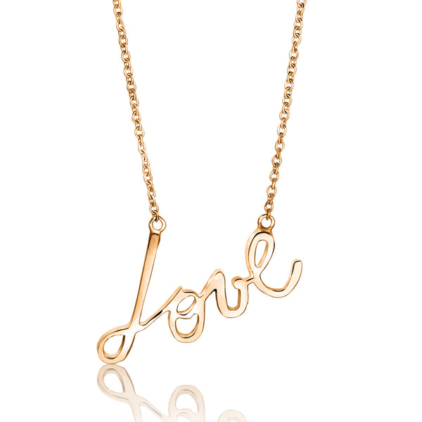 Script love necklace, jewelry, necklace, script jewelry,