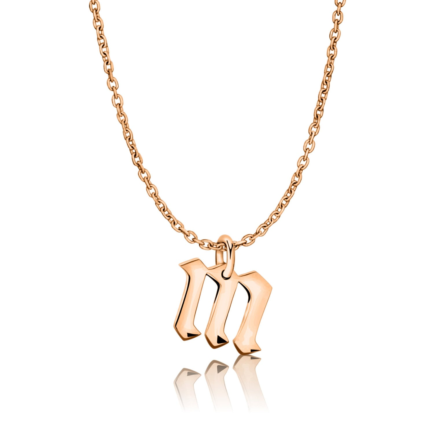 Letter M Gothic Initial Necklace Rose Gold
