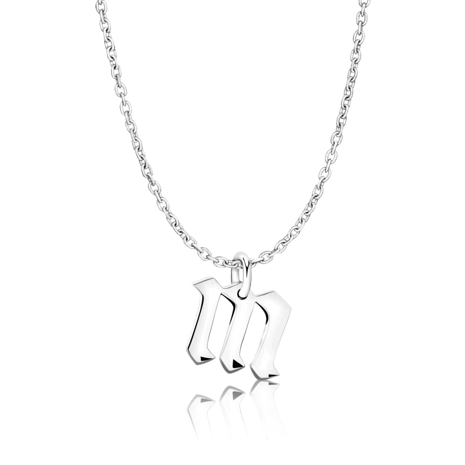 Gothic Initial M Necklace 925 sterling silver