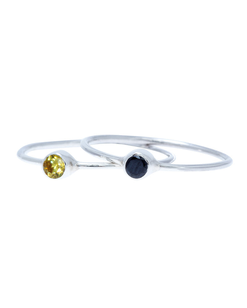 Thin CZ Band Ring; Birthstone midi ring