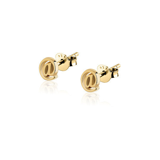 Social stud jewelry; stud earrings; social media jewelry; social media earrings; 14k gold earrings; stud earrings