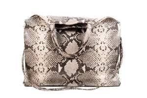 Python-Embossed Tote; Python Leather Tote; Leather python embossed Tote; Python Handbag