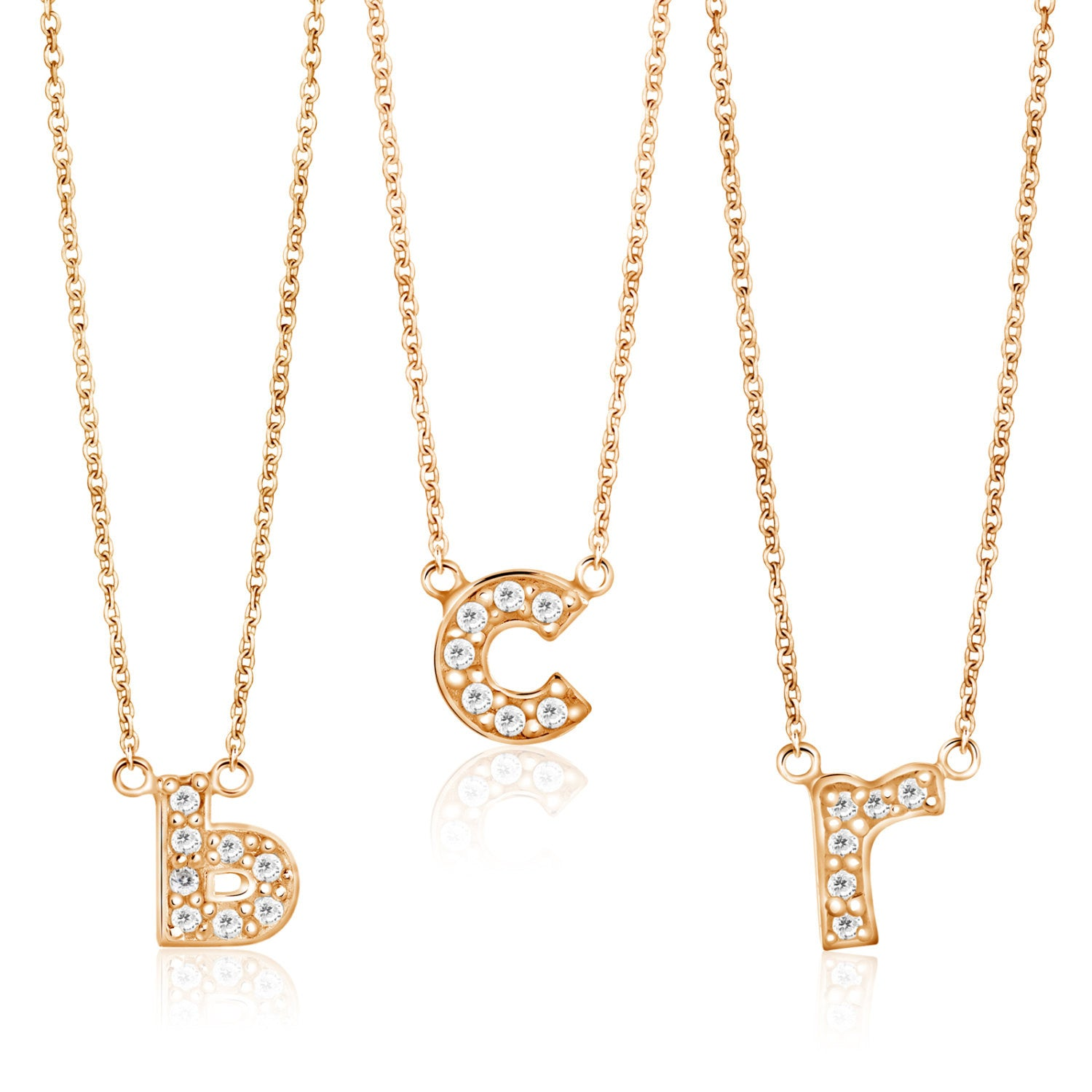 diamond 14k Pendant lowercase charm initial necklace