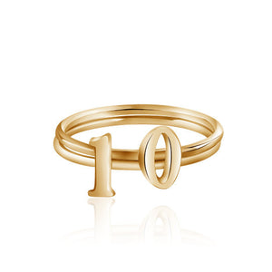 14k vermeil gold Lucky Number digit ring gift for her