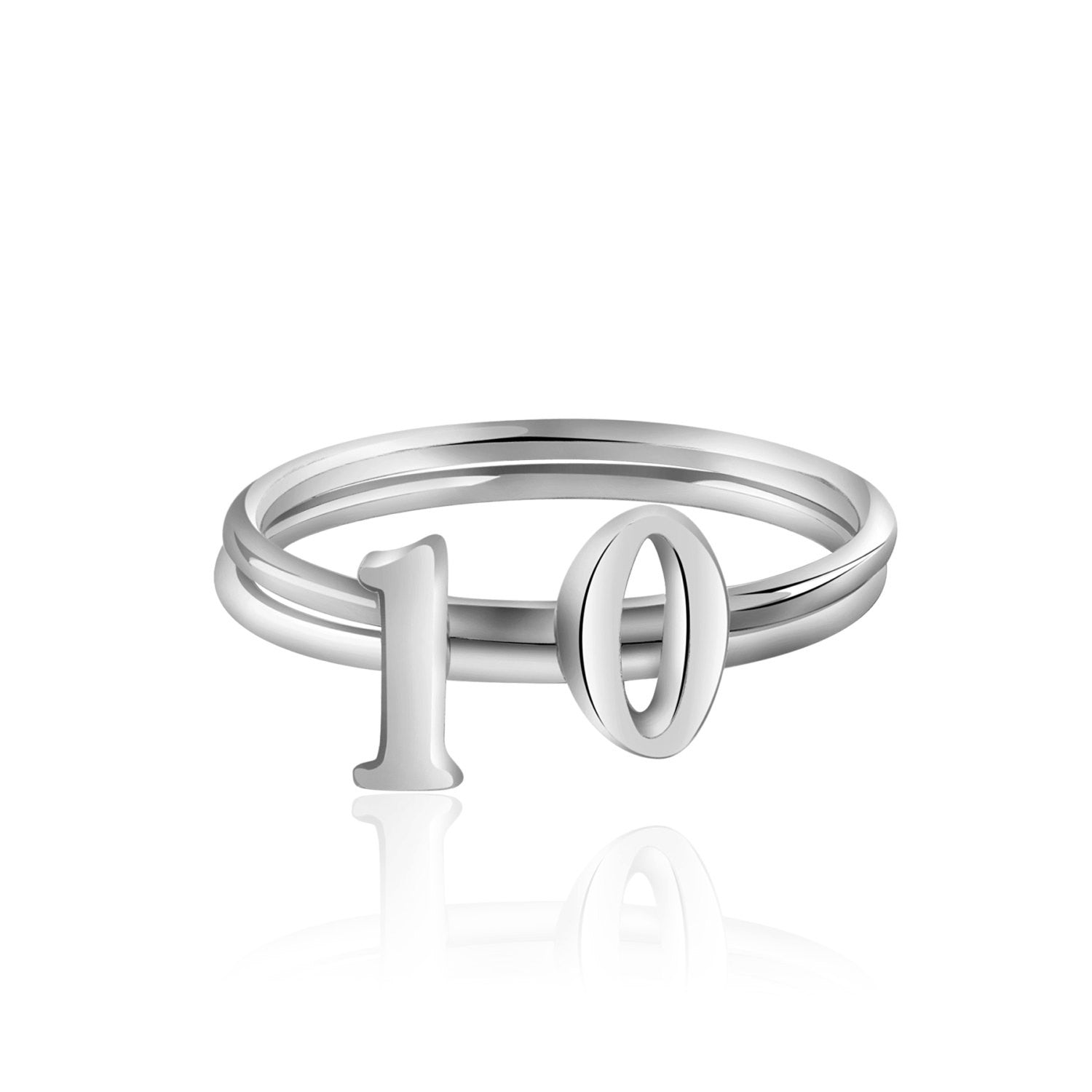 925 sterling silver anniversary number ring for her