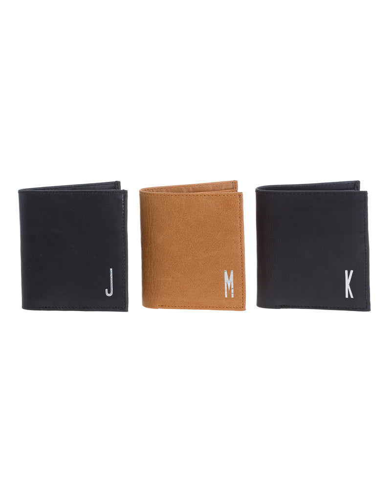 Black and Tan Monogrammed Men's Leather Bi-Fold