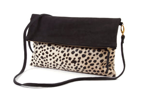 Leopard Calf Hair and Nubuk Foldover Clutch; Genuine leopard print calf hair leather clutch; clare vivier leopard clutch; monogrammed leopard calf hair clutch; bags and purses; leather goods; madewell