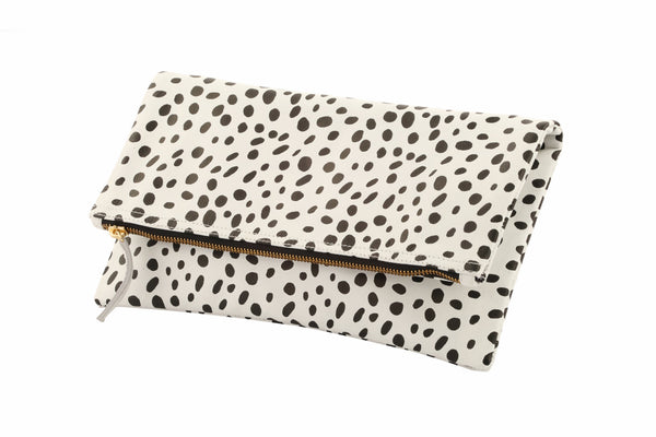 Black and White Clare V. Foldover clutch