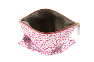 Dalmatian print leather bag fold over clutch, Dalmatian Bag, Leather Dalmatian print clutch, Dalmatian clutch, SIlver and pink dalmatian bag