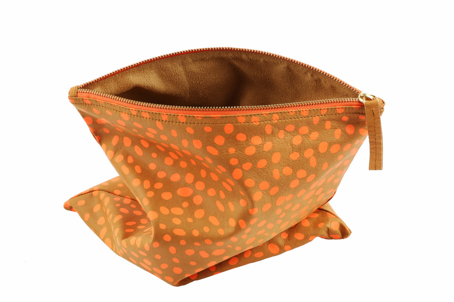 Dalmatian print leather bag fold over clutch, Dalmatian Bag, Leather Dalmatian print clutch, Dalmatian clutch, Tan and orange dalmatian bag