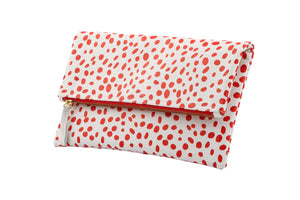 Dalmatian print leather bag fold over clutch, Dalmatian Bag, Leather Dalmatian print clutch, Dalmatian clutch, Red and White Fold over