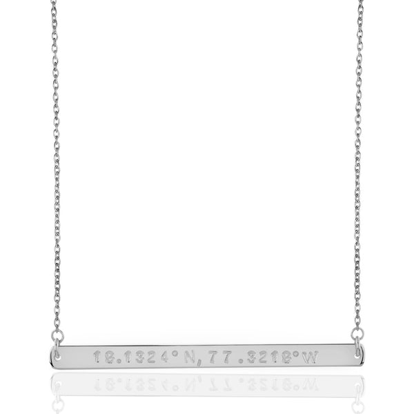 925 sterling silver bar bespoke necklace; coordinate bespoke bar necklace; name necklace