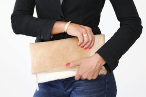 Clare V. Genuine Calf Hair Natural Foldover Clutch; Women's Handbag; Clutch Bag; Clutch Purse
