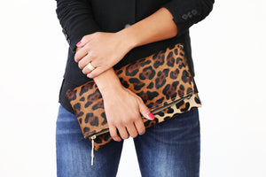 Clare V.Genuine Calf Hair Jaguar Leopard Print;Jaguar Print Calf Hair clutch; women's clutch purse; women's handbags; women's purse; calf hair clutch; calf hair leather purse; calf hair foldover bag; calf hair clutch bag; jaguar print calf hair handbag; pony hair handbag; pouches and clutches; foldover clutch leather; foldover clutch with strap; foldover clutch calf hair