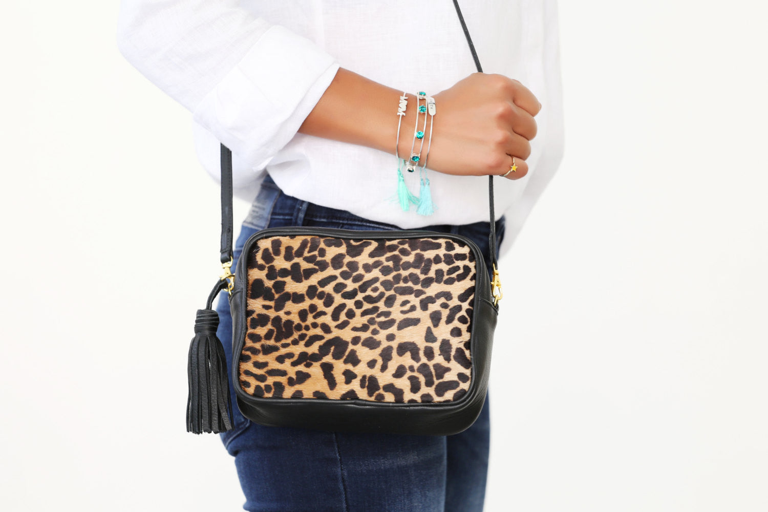 Cheetah Printed Crossbody Shoulder Handbag