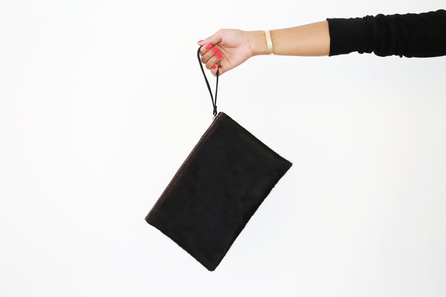 Clare V. Genuine Calf Hair Black Flat Clutch; Women's Handbag; Wristlet handbag; Wristlet purse; black wristlet; calf hair wristlet; black women's handbags; black clutch purse; black calf hair purse; black calf hair clutch