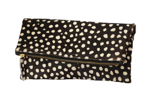 Clare V. Genuine Calf Hair Leopard Print Foldover Clutch; Women's Handbag; Clutch Bag; Clutch Purse;