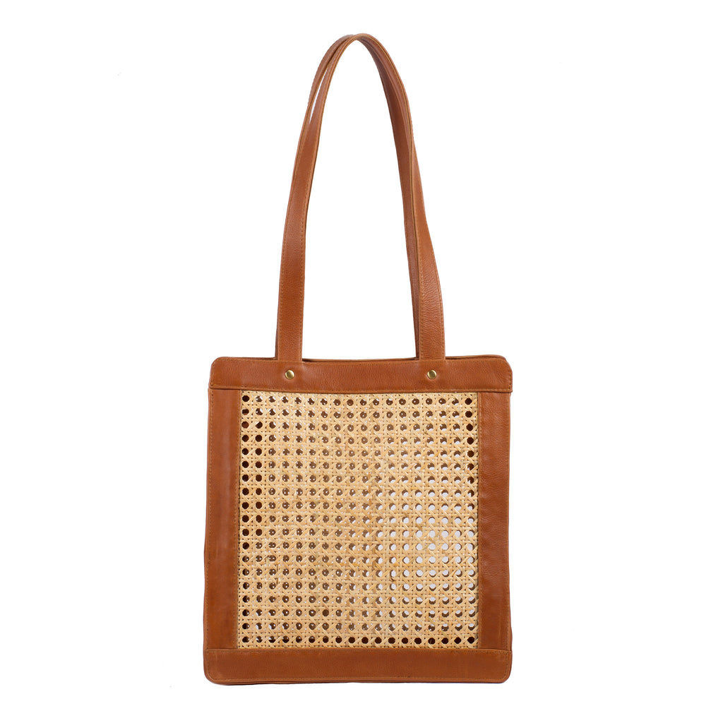 Rattan & Leather Tote Handbag; Camel Rattan & Leather Shoulder Bag