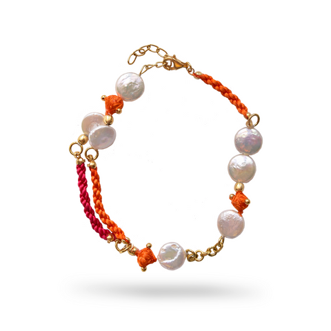 Product shot Delilah Anklet fair-trade ethical pearl Indian jewellery