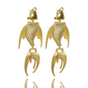 Gold FISH Earrings Disco AQUARIA Hanging Drop Australian Designer Mountain Moon Garnet Brass Luxe Opulent Made by artisans. Yours Truly Collection. Ethical jewelry.