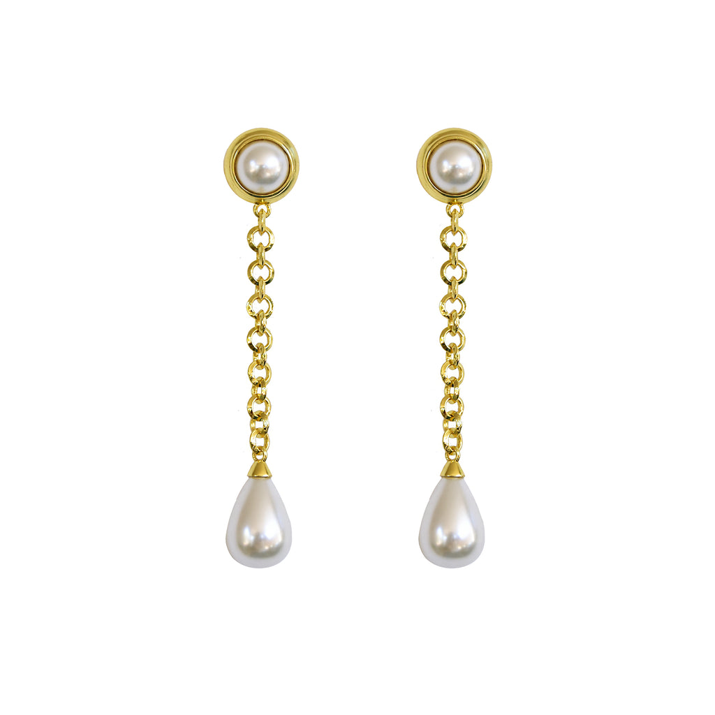 Drop chain statement earrings with 24K micron gold plating and teardrop shaped glass pearls.