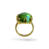 Image of Gold BIANCA Cocktail Ring with an oval GREEN MOJAVE TURQUOISE by Mountain and Moon Jewellery