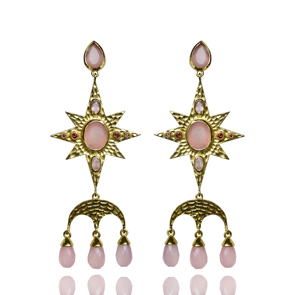 CHRISTINE Earrings | PINK CHALCEDONY & GARNET