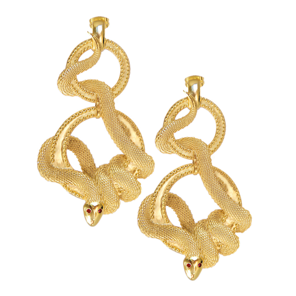 Cleo Gold Snake Earrings. Egyptian Style. Cleopatra. Bold statement jewellery. Mountain & Moon. Australian Jewellery Design. Ethical Fashion. Gold.