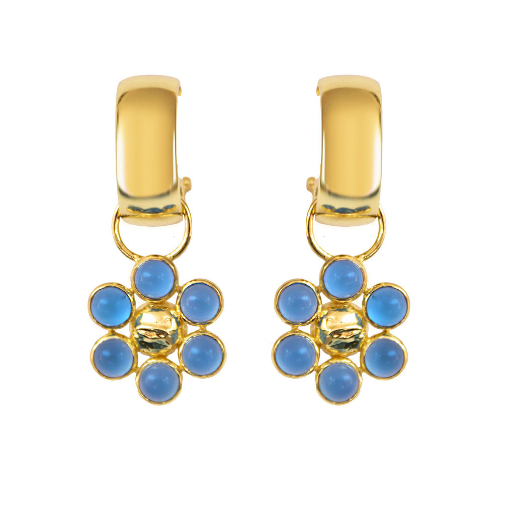 Chunky hoop statement earrings with 24K  micron gold plating and daisy shaped pendant with blue chalcedony gemstones