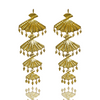 Gold FAN Bead Chandelier Drop MAIKO Earrings HOOK Australian Designer Mountain Moon hammered Brass Luxe Opulent Made by artisans. Ethical jewelry