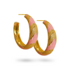 Gold MARIA HOOP Earrings GOLD Pink Peach ENAMEL Earrings GOLD Statement Mini hoops Mountain & Moon