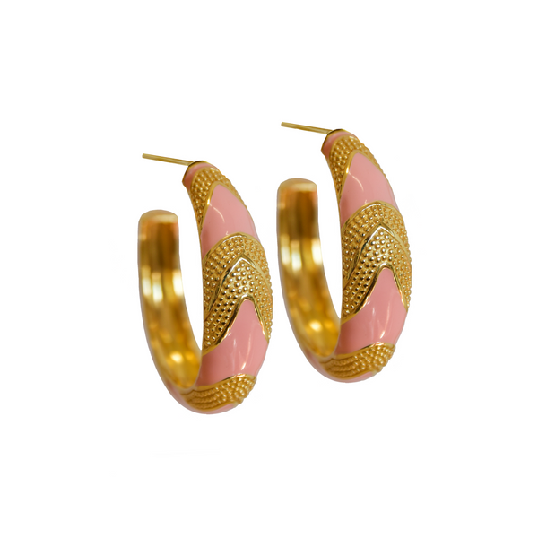 Gold MARIA HOOP Earrings GOLD Pink Peach ENAMEL Earrings GOLD Statement Mini hoops Mountain Moon