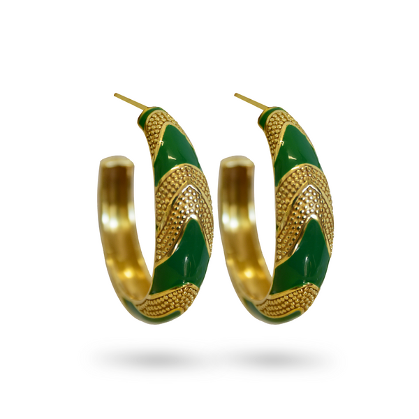 Gold MARIA HOOP Earrings GOLD EMERALD Green ENAMEL Earrings GOLD Statement Mini hoops Mountain Moon
