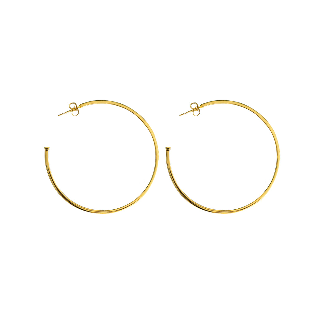Large, thin, flat hoop statement earrings with 24K micron gold plating