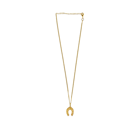 Gold ONE & ONLY Necklace GOLD link Chain with HORSESHOE Charms Mountain Moon