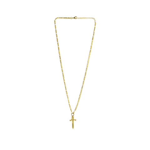Gold ON THE ROCKS Necklace GOLD link Chain with DAGGER Charms Mountain Moon