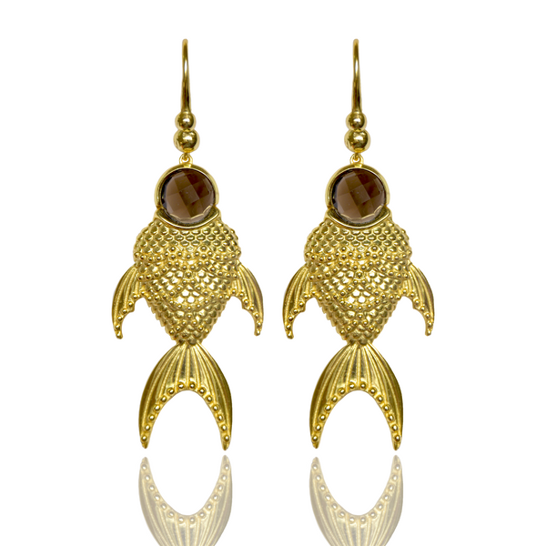 Gold Small FISH Earrings PISCES Hanging Drop Australian Designer Mountain Moon Garnet Brass Luxe Opulent Made by artisans. MOUNTAIN & MOON Collection. Ethical jewelry.