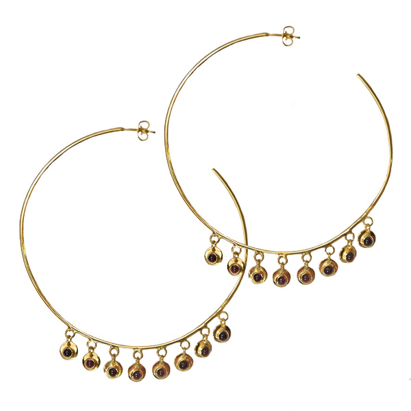 jewellery earrings Australian designer Ezra hoops mountain and moon gold costume jewellery garnet gemstones