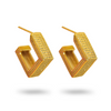 Gold ELLA Earrings GOLD Square Huggie Earrings GOLD Statement Huggie hoops Mountain Moon