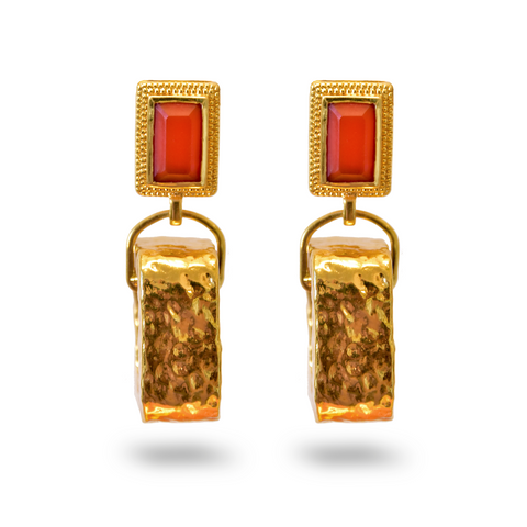 Gold DELPHINE Earrings GOLD Amber drop Earrings Gem ORANGE ONYX Mountain Moon