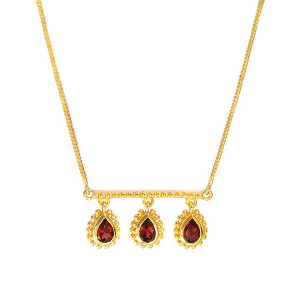Gold VENUS GARNET Necklace Plain Chain Australian Designer Mountain Moon Gems. Statement. Luxe. Garnet. Cleopatra. Venus. artisans. Yours Truly Collection. Ethical jewellery.