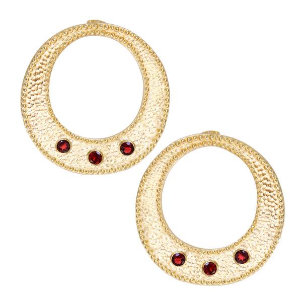 Gold WILDFIRE Hoops Disco Earrings Garnet Red GemStones Mountain Moon