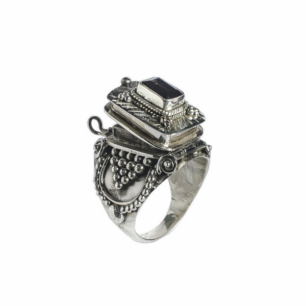 Silver box Cocktail Ring Indian Design Smoky Topaz Quartz Gypsy Jewelry Bohemian
